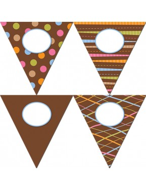 """Dots on Chocolate Pennants 10"""" Jumbo Designer Cut-Outs"""