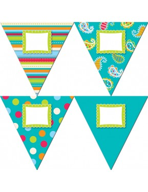 """Dots on Turquoise Pennants 10"""" Jumbo Designer Cut-Outs"""